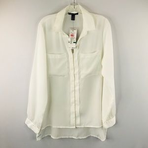 Kenneth Cole white casual blouse SZ:L NWT